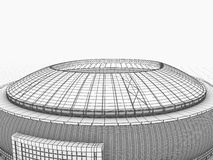 Sport arena. 3d illustration in wireframe view Stock Images