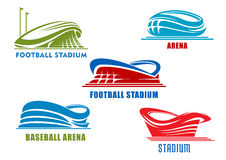 Sport arenas and stadiums building icons Royalty Free Stock Image