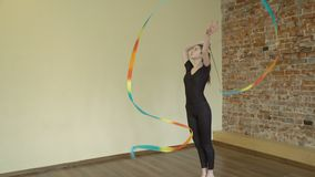 Sport art calisthenics training ribbon exercise. Sport art athletics. fitness wellness. gymnast calisthenics exercise training. artistic performance with ribbon stock footage