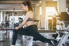 Sport asian woman stretching for warming up befor doing exercises cross fit body muscular training workout in gym. Sporty asian woman stretching for warming up royalty free stock photo
