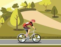 Sport athlete cyclist in park. Vector illustration stock illustration