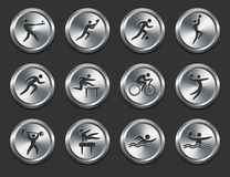 Sport Athletes Icons on Metal Internet Buttons Stock Images