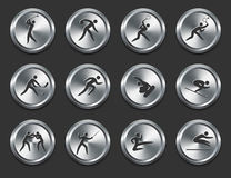 Sport Athletes Icons on Metal Internet Buttons Royalty Free Stock Image