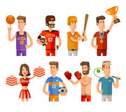 Sport and athletes icons set. vector illustration Stock Photos