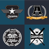 Sport athletic champions college baseball football logo emblem collection. Vector Graphics and typography t-shirt Stock Photography