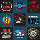 Sport athletic college baseball football logo emblem collection. Graphics and typography t-shirt design for apparel. Royalty Free Stock Photography