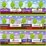 Sport of athletics concept vector illustration. Track and field competition games. Sportsman running, jumping, throwing. Stock Photo