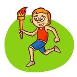 Athl te olympique de dessin anim ex cutant avec la flamme - Flamme olympique dessin ...