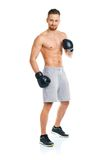 Sport Attractive Man Wearing Boxing Gloves On The White Stock Photo