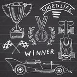 Sport auto items doodles elements. Hand drawn set with Flag icon. Checkered or racing flags first place prize cup. medal and rasin Stock Images