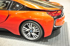 Sport-Auto-Rückseiten-Viertel BMWs I8 Stockfotografie