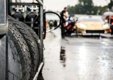 Sport automobile réglé de emballage humide de pneu photographie stock libre de droits