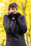 Sport in autumn cold weather Royalty Free Stock Image
