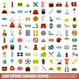 100 sport award icons set, flat style. 100 sport award icons set in flat style for any design vector illustration Stock Illustration