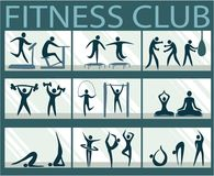 Abstract active people silhouettes in fitness club. Sport background with abstract active people silhouettes in fitness club Stock Illustration