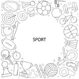 Sport background from line icon. Linear vector pattern Royalty Free Stock Photo