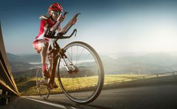 Sport background. Road cyclist. stock photos