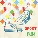 Sport background with sneakers and pattern Royalty Free Stock Photos