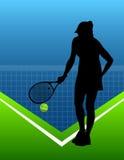 Sport background tennis. woman. vector Stock Photos