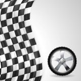 Sport background with wheel and finish flag Stock Photos