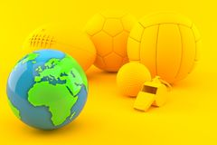Sport background with world globe. In orange color Royalty Free Stock Image