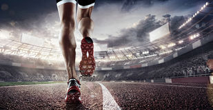 Free Sport Backgrounds.  Soccer Stadium And Running Track. 3d Render Stock Image - 96689471