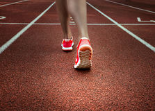 Sport backgrounds. Sprinter starting on the running track. Dramatic image. Red running track with female runner, close up on legs stock photo