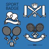 SPORT BADGE. 4 popular sport emblems, tennis, table tennis, badminton and baseball in black and white style on the blue background Royalty Free Stock Images