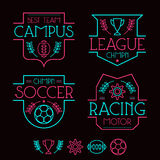 Sport badges and icons. In thin line style. Graphic design for t-shirt. Neon colors print on a black background Stock Photography