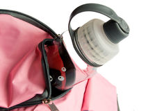 Sport bag. Closeup photo of the modern sport bag with drinking bottle. Shallow dof Royalty Free Stock Photo