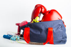Sport bag for packing your exercise item Stock Photos