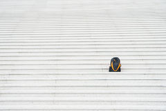 Sport bag on stairs. Black backpack outdoor. Beauty and fashion. Success and loneliness. Traveling and vacation, copy space Royalty Free Stock Images