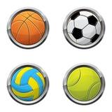 Sport ball buttons stock photography