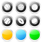 Sport ball circle icon set Royalty Free Stock Photography