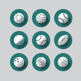 Sport ball flat icon for web and mobile set01 Stock Photos