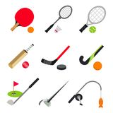 Sport Ball Game Table Tennis Badminton Golf Fencing Fishing Vector. Design Royalty Free Stock Photos