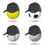 Sport ball with hat Royalty Free Stock Photography