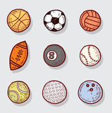 Sport Ball Icons, Hand drawn vector illustration.  Royalty Free Stock Photos