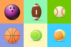 Sport ball set flat design vector Royalty Free Stock Photo