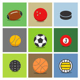 Sport ball silhouettes color collection Stock Photos