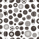 Sport ball silhouettes. Seamless pattern Stock Photography