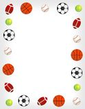 Sport balls. Five different sport balls border / frame on white background Royalty Free Stock Image