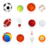 Sport balls. Twelve different sport balls isolated on white background Royalty Free Stock Photography