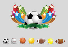 Sport balls. 6 kind sports ball with colored motion stars. Additional vector format Eps8 (very easy editable separate layers Stock Image