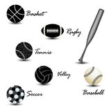 Sport balls against white Royalty Free Stock Images