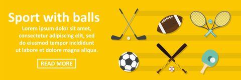 Sport with balls banner horizontal concept Royalty Free Stock Images