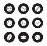 Sport balls black icons set Stock Photo