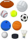 Sport balls cartoon collection Royalty Free Stock Photos