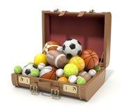 Sport balls in the case. Sport balls in the old brown case - 3D illustration vector illustration