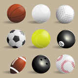 Sport balls collection,Illustration Royalty Free Stock Image